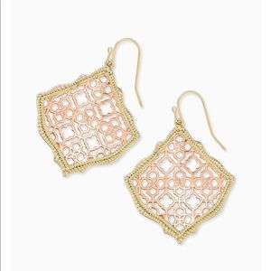 Gold Drop Earrings In Rose Gold Filigree Mix